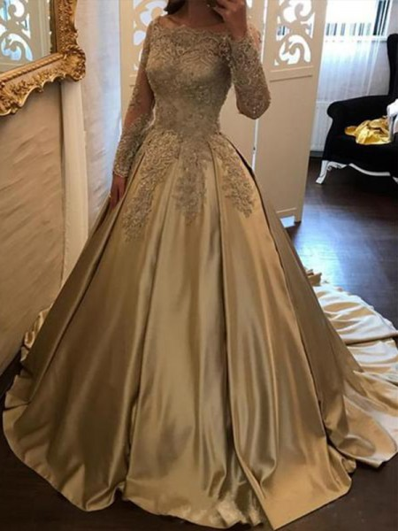 Ball Gown Long Sleeves Sweep/Brush Train Off-the-Shoulder Applique Satin Dress