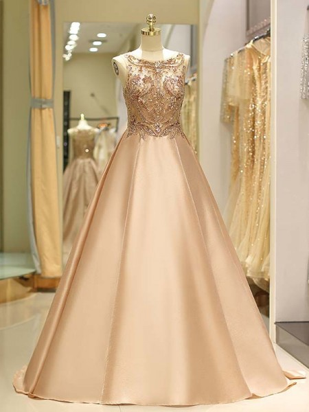 Ball Gown Sleeveless Sweep/Brush Train Beading Satin Dress