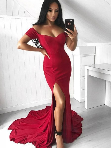 Trumpet/Mermaid Off-the-Shoulder Sleeveless Court Train Ruffles Elastic Woven Satin Dress