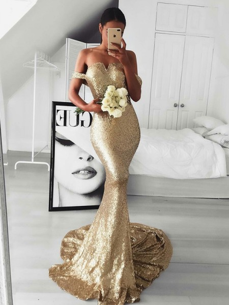 Trumpet/Mermaid Sleeveless Sweep/Brush Train Off-the-Shoulder Ruffles Sequins Dress