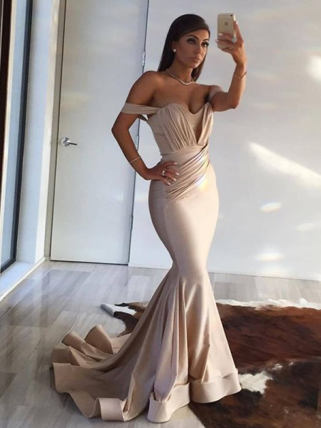 Trumpet/Mermaid Sleeveless Sweep/Brush Train Off-the-Shoulder Ruffles Spandex Dress