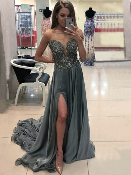 A-Line/Princess Sleeveless Sweep/Brush Train Crystal Chiffon Dress