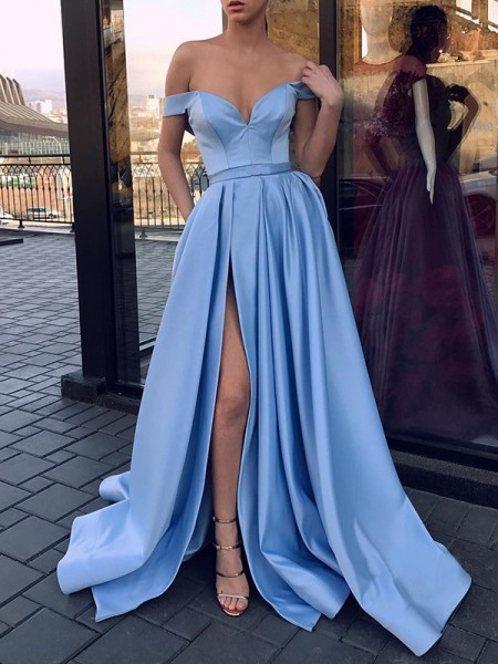 A-Line/Princess Sleeveless Sweep/Brush Train Off-the-Shoulder Ruffles Satin Dress