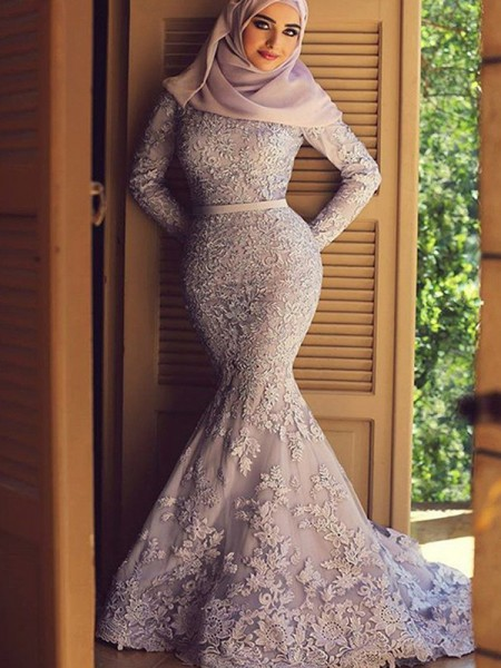 Trumpet/Mermaid Scoop Long Sleeves Sweep/Brush Train Ruffles Lace Muslim Dress