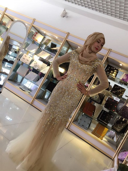 Sheath/Column Scoop Long Sleeves Floor-Length Sequin Tulle Muslim Dress