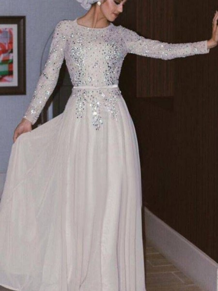 A-Line/Princess Scoop Long Sleeves Floor-Length Crystal Chiffon Muslim Dress