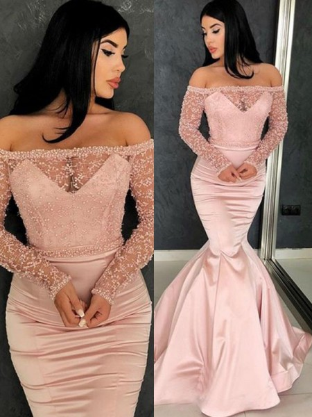 Trumpet/Mermaid Long Sleeves Sweep/Brush Train Off-the-Shoulder Ruffles Satin Dress
