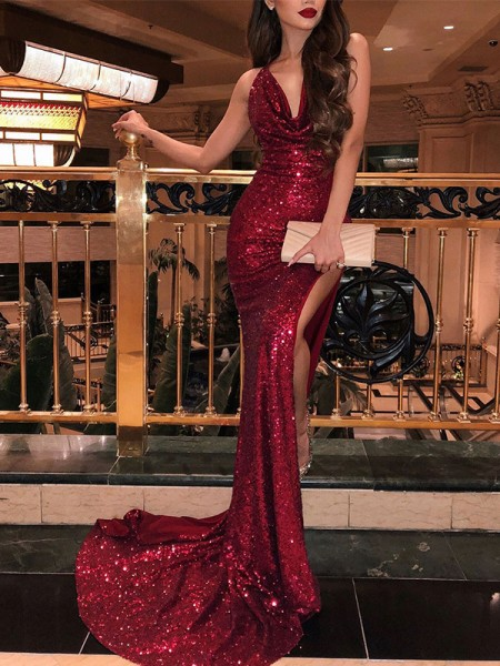 Trumpet/Mermaid V-neck Sleeveless Sweep/Brush Train Sequins Dress