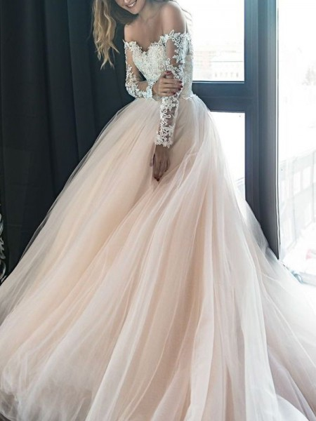 A-Line/Princess Long Sleeves Off-the-Shoulder Court Train Tulle Applique Wedding Dress