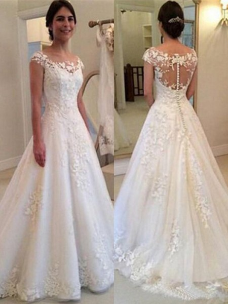 A-Line/Princess Scoop Sleeveless Lace Sweep/Brush Train Tulle Wedding Dress