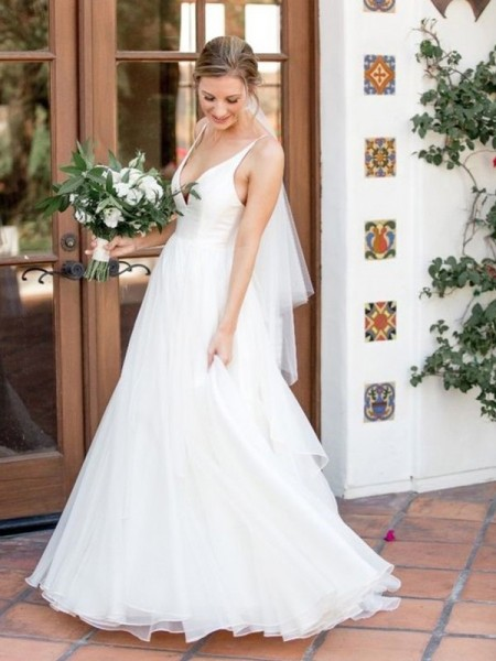 A-Line/Princess V-neck Sleeveless Ruffles Sweep/Brush Train Tulle Wedding Dress