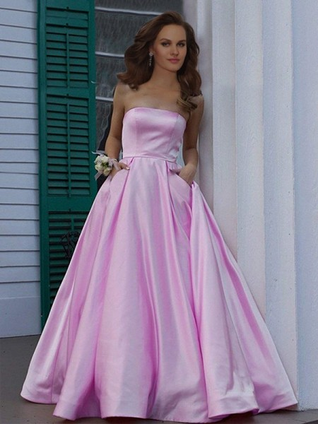 A-Line/Princess Strapless Sleeveless Ruffles Floor-Length Satin Dress