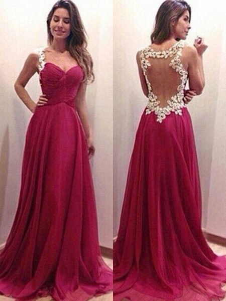 A-Line/Princess Sweetheart Sleeveless Sweep/Brush Train Applique Chiffon Dress