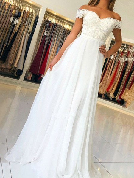 A-Line/Princess Sleeveless Off-the-Shoulder Floor-Length Applique Chiffon Dress