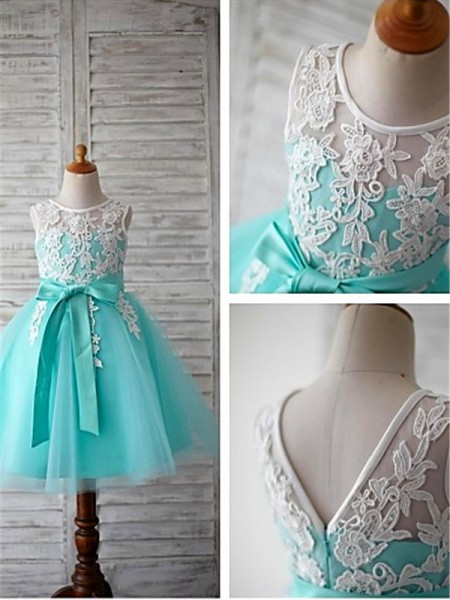 Ball Gown Scoop Sleeveless Bowknot Knee-Length Tulle Flower Girl Dresses
