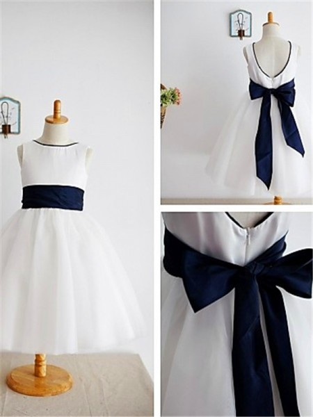 A-line/Princess Scoop Bowknot Sleeveless Tea-Length Tulle Flower Girl Dresses