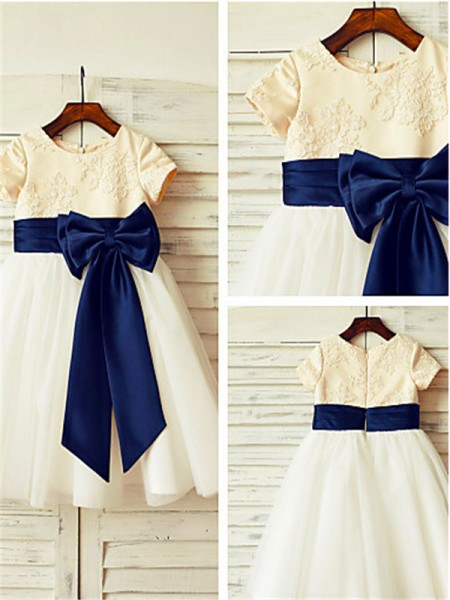 A-line/Princess Scoop Short Sleeves Bowknot Tea-Length Tulle Flower Girl Dresses