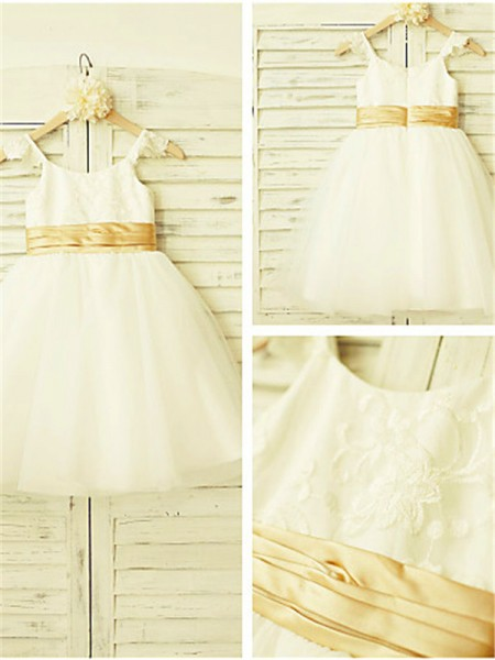 A-line/Princess Spaghetti Straps Tea-Length Tulle Flower Girl Dress with Lace
