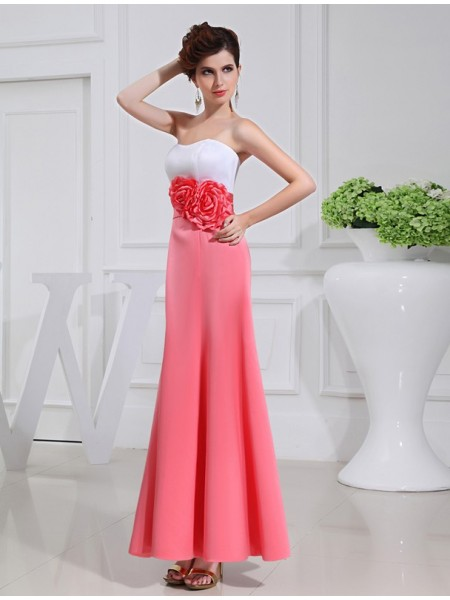 A-Line/Princess Satin Long Bridesmaid Dress