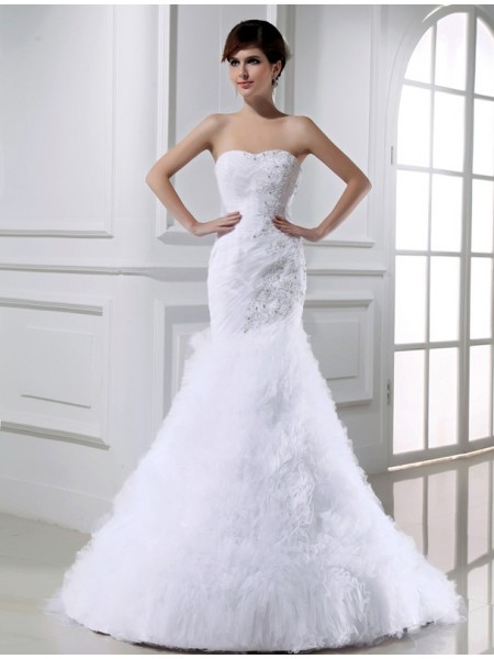 Trumpet/Mermaid Tulle Long Wedding Dress
