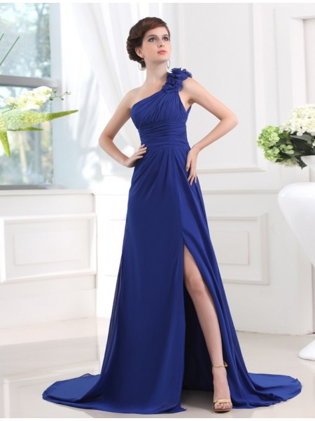 A-Line/Princess One-shoulder Pleats Chiffon Dress