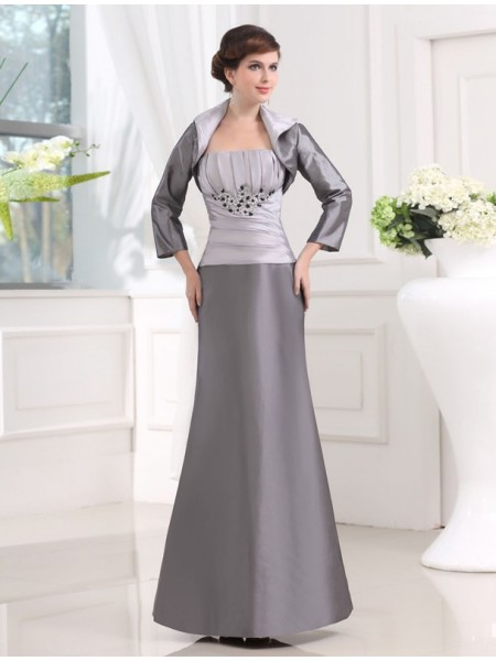 Strapless Taffeta Long Applique Mother of the Bride Dress