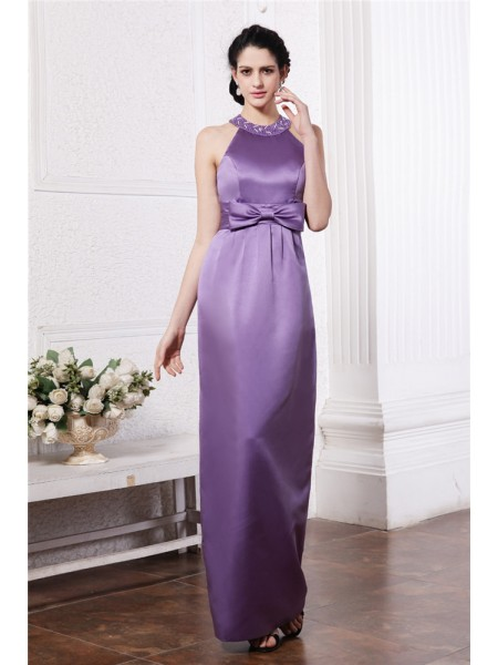 Sheath/Column Scoop Long Elastic Woven Satin Bridesmaid Dress
