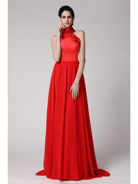 Sheath/Column Halter Pleats Long Elastic Woven Satin Chiffon Bridesmaid Dress