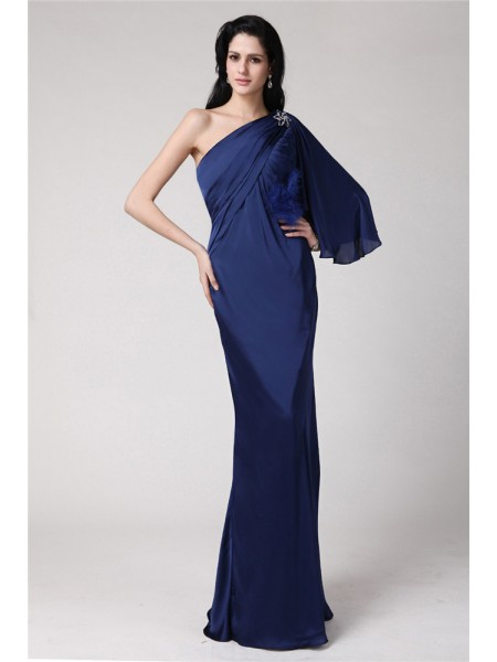 Trumpet/Mermaid One-Shoulder Long Feather Chiffon Damask Dress