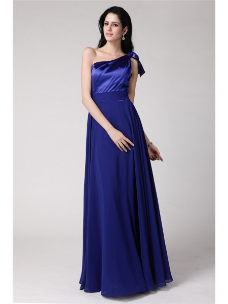 A-Line/Princess One-Shoulder Elastic Woven Satin Chiffon Dress