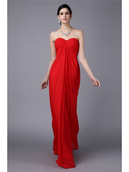 Sheath/Column Strapless Pleats Chiffon Dress