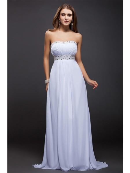 Sheath/Column Strapless Chiffon Dress