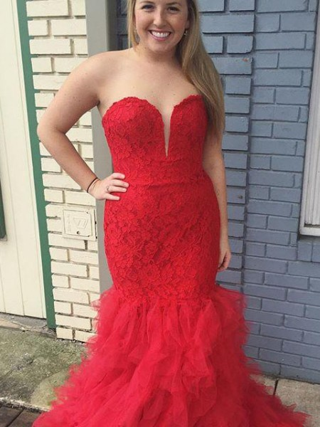 Trumpet/Mermaid Sweetheart Sweep/Brush Train Tulle Plus Size Dress with Lace