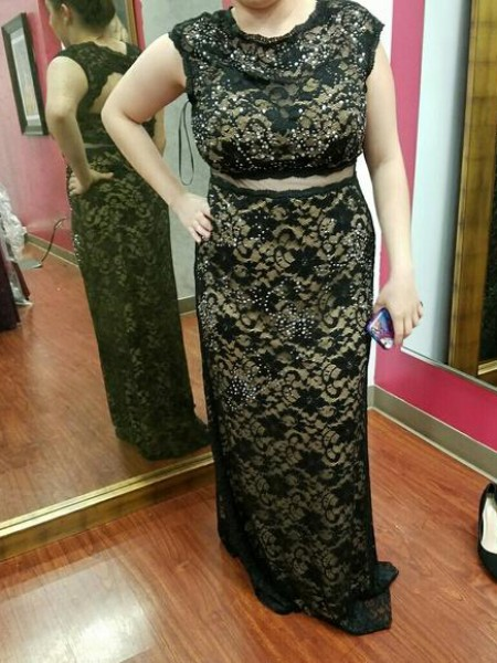 Sheath/Column Scoop Beading Floor-Length Plus Size Dress with Lace