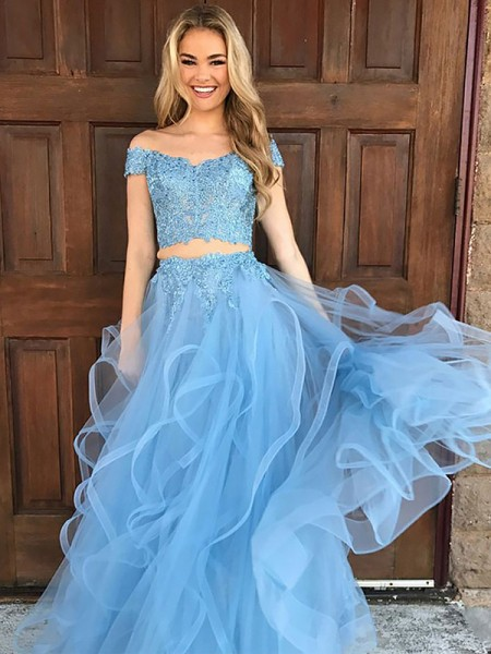 A-Line/Princess Sleeveless Off-the-Shoulder Tulle Applique Floor-Length Two Piece Dresses