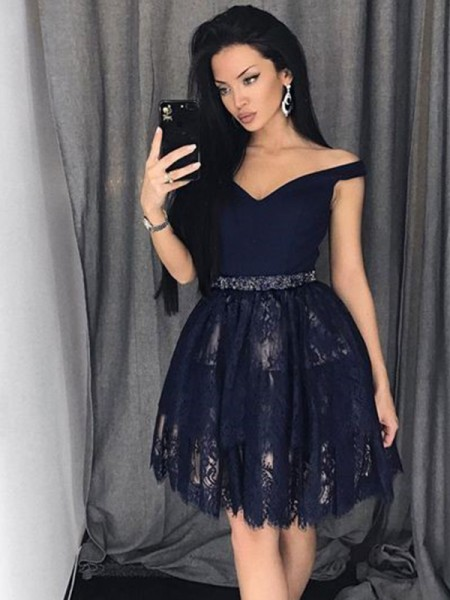 A-Line/Princess Satin Off-the-Shoulder Beading Short/Mini Dress with Lace