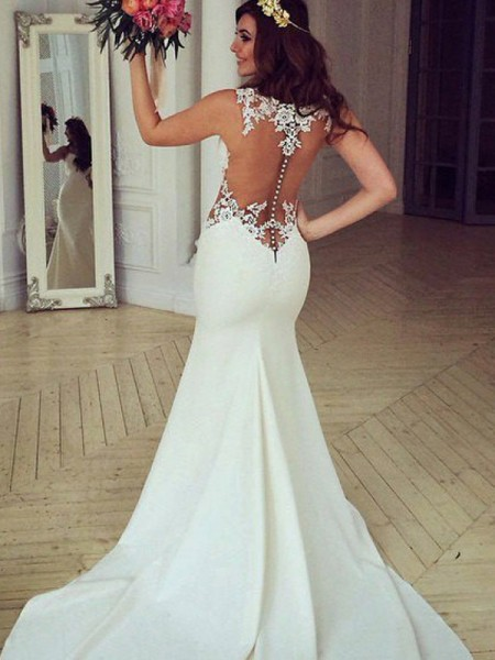 Trumpet/Mermaid Scoop Lace Sleeveless Sweep/Brush Train Applique Wedding Dresses