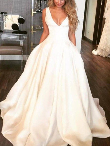 A-Line/Princess Sleeveless V-neck Ruffles Satin Sweep/Brush Train Wedding Dresses