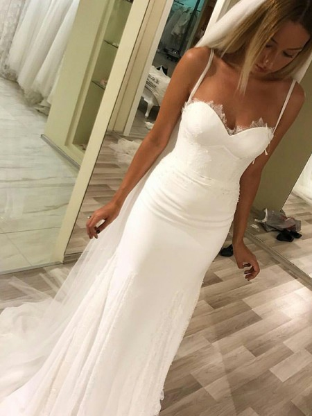 Sheath/Column Sweetheart Spaghetti Straps Sleeveless Sweep/Brush Train Satin Wedding Dresses