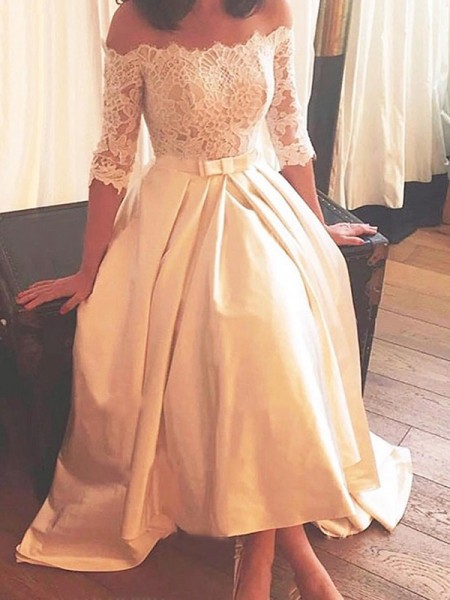 A-Line/Princess Off-the-Shoulder Asymmetrical Sweep/Brush Train 1/2 Sleeves Lace Satin Wedding Dresses