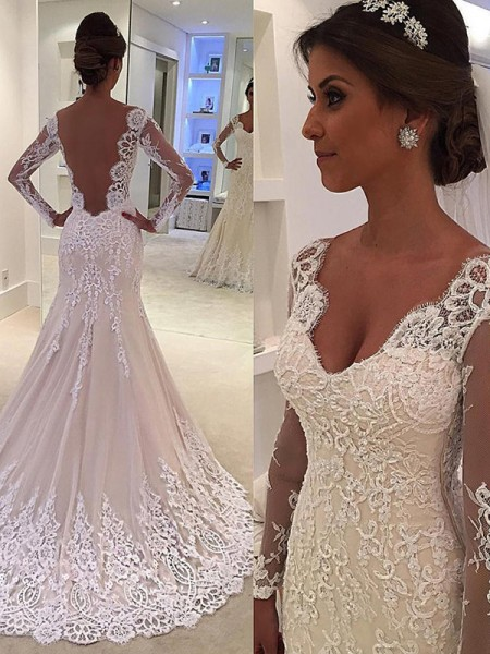 Trumpet/Mermaid Long Sleeves Court Train Lace V-neck Wedding Dresses
