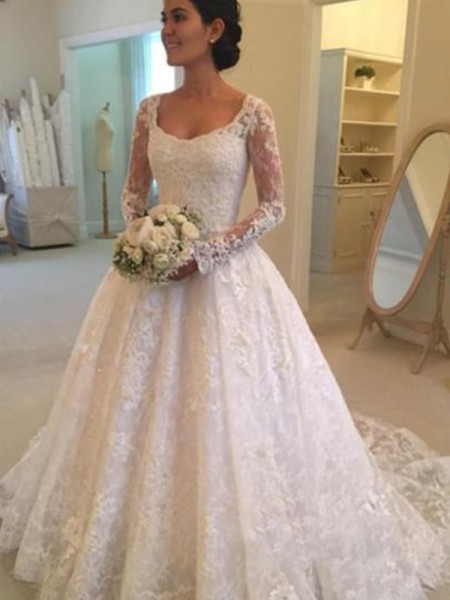 Ball Gown Long Sleeves Scoop Ruffles Cathedral Train Lace Wedding Dresses