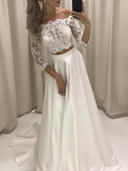 A-Line/Princess 3/4 Sleeves Off-the-Shoulder Applique Satin Court Train Wedding Dresses