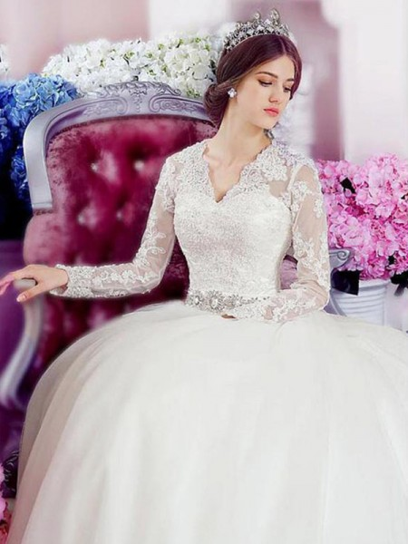 A-Line/Princess V-neck Cathedral Train Applique Lace Long Sleeves Tulle Wedding Dresses