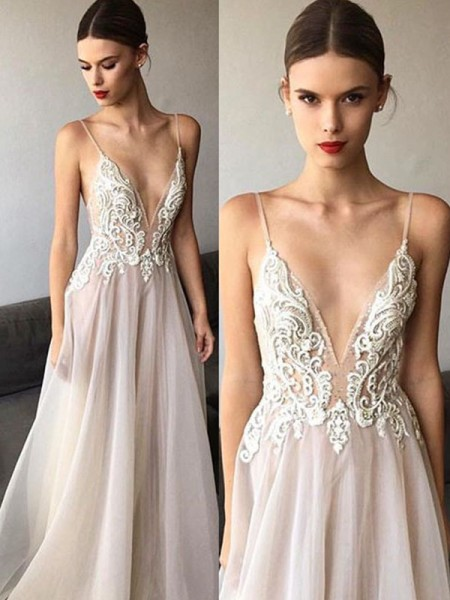 A-Line/Princess Sleeveless Sweep/Brush Train Spaghetti Straps Lace V-neck Tulle Wedding Dresses