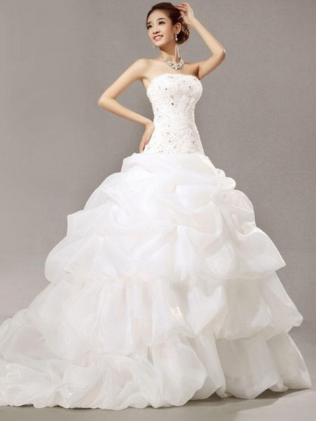 Sleeveless Strapless Cathedral Train Beading Ball Gown Lace Pleats Organza Wedding Dresses