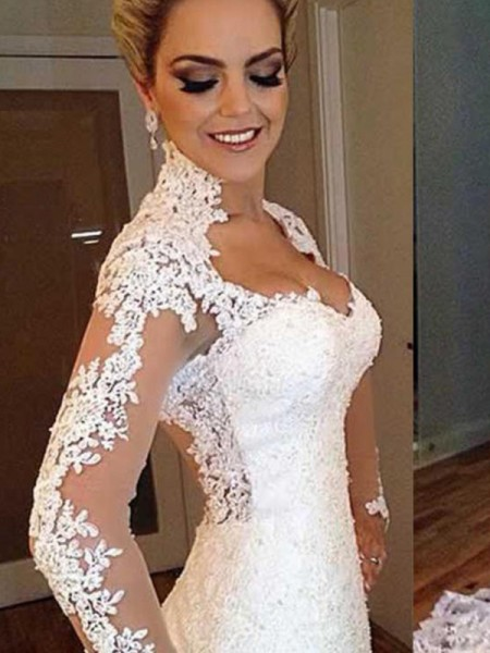 Trumpet/Mermaid Long Sleeves Applique V-neck Sweep/Brush Train Lace Wedding Dresses