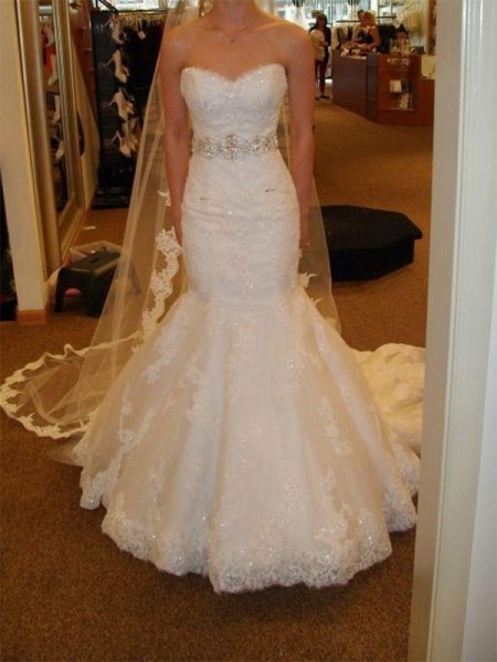 Trumpet/Mermaid Sleeveless Sweetheart Court Train Sash/Ribbon/Belt Lace Tulle Wedding Dresses