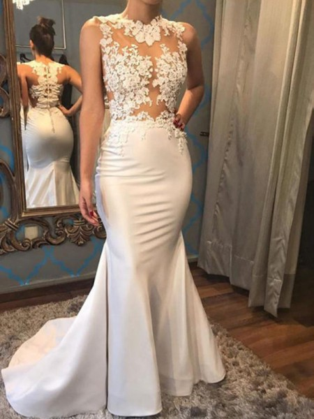 Trumpet/Mermaid Sleeveless Scoop Applique Satin Court Train Wedding Dresses