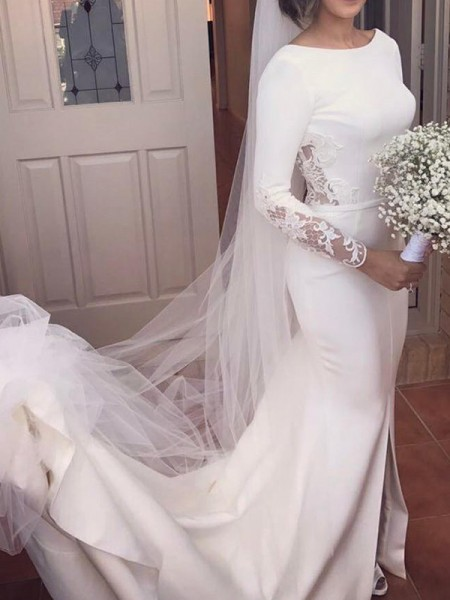 Trumpet/Mermaid Scoop Court Train Lace Satin Long Sleeves Wedding Dresses